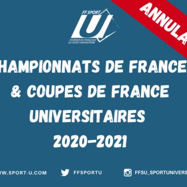 Communiqué FFSU – Annulation des Championnats de France et Coupes de France Universitaires – saison 2020/2021