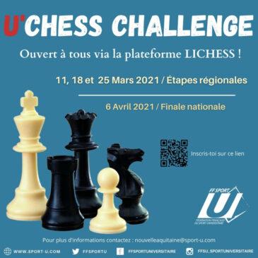 U'Chess Challenge : 11, 18 et 25 mars 2021